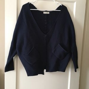 Sweaters - Navy blue slouchy cardigan